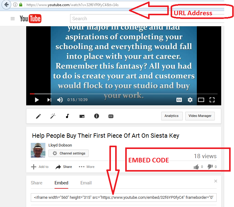 1 - YOUTUBE - URL ADDRESS & EMBED CODE